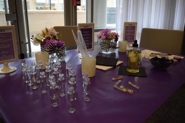 perfume station, perfume bar, diy, pantone theme, purple theme, bridal shower ideas, bridal shower