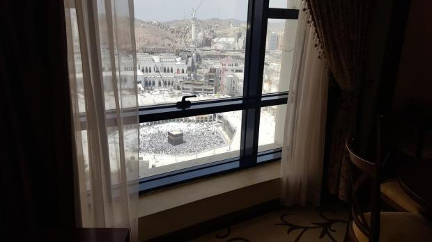 The view from our hotel room Al Safwa Hotel located in the Haram. Makkah, Saudi Arabia