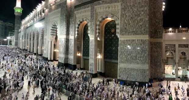Crowds in the haram in front of the gates during the hajj season in Makkah Saudi Arabia